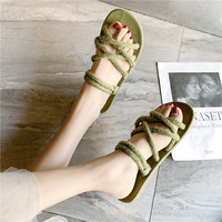 2019 new grass weave sandals female summer tide net red roman shoes cross strap green sandals female one shoes two wear sandals
