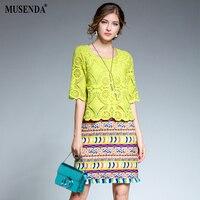 MUSENDA Plus Size Women Yellow Lace Print Patchwork Tunic Short Dress 2017 Summer Sundress Female Dresses