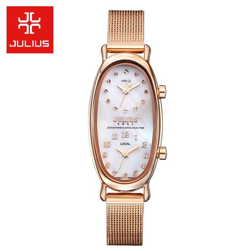 Pokój strefa czasowa powłoki Gemini zegarek damski japonia Quartz godziny dzieła moda sukienka ze stali bransoletka prezent urodzinowy dla niej Julius Box w Zegarki kwarcowe od Zegarki na  Grupa 1