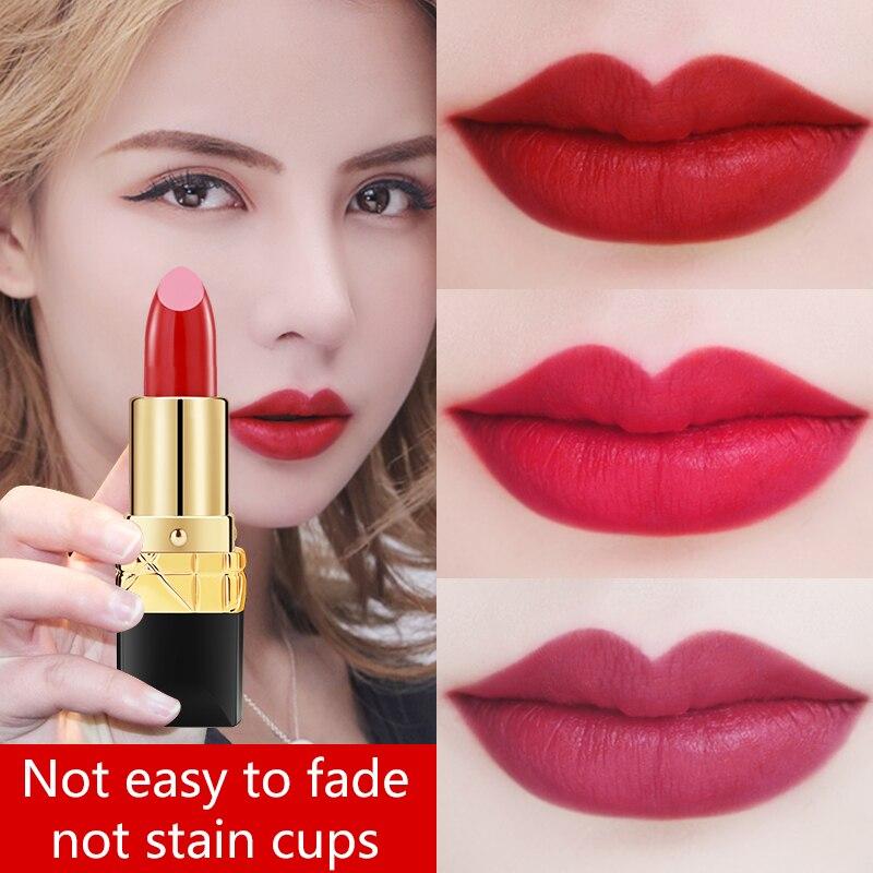 LAMILEE Brand Makeup Smooth Lipstick Long Lasting Lip Gloss Waterproof Moisturizing 10 Colors Classic Lip Balm Maquiagem 3 8g in Lipstick from Beauty Health