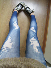 Korean Stylish Slim Pencil Pants Hole Jean Legging Nine of Render