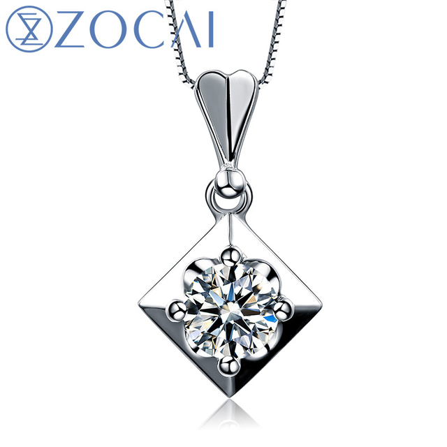 ZOCAI Real Diamond 0.50 CT I-J / SI Certufied Diamond Pendant 18K White Gold with 925 Sterling Silver Chain Necklace D01146