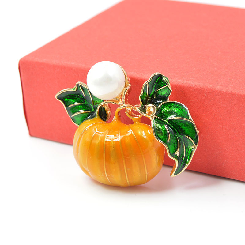 CINDY XIANG Pearl Pumpkin Brooches for Women Halloween Enamel Pins Fashion Jewelry Orange Color Kids Gift Drop Shipping New 2018 in Brooches from Jewelry Accessories