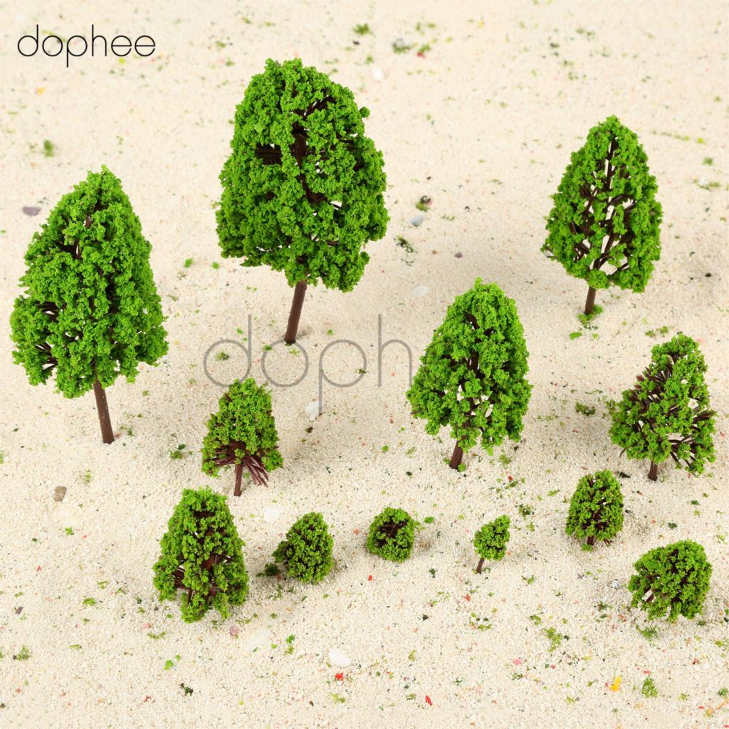 dophee 12pcs Mixed Scale Plastic Model Poplar Trees Scale 1:50-1:500 Model Railway Scene Landscape Layout