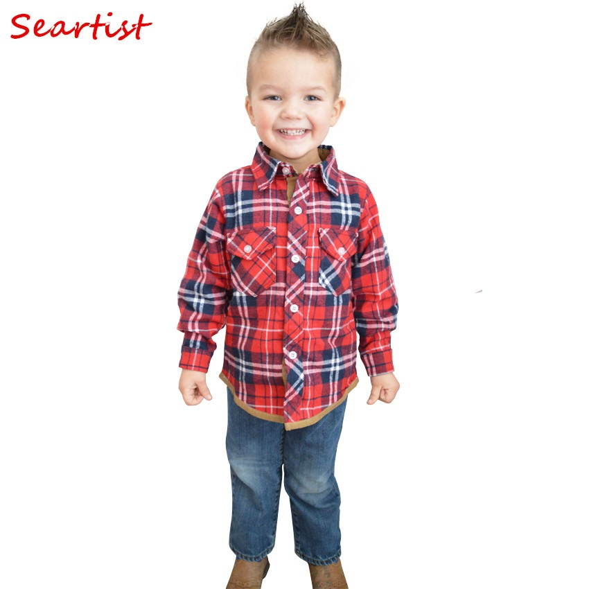 Seartist Baby Boys Girls British Plaid Shirt Niños Primavera Londres Estilo Camisa Niños Desgaste inferior Blusa Kids Outfit 2019 Nuevo 35C