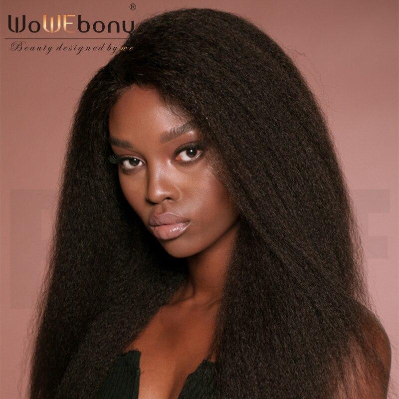 WoWEbony 100% Human Hair Italian Yaki Straight Indian Remy Hair Full Lace Wigs Free Part [FLW08]