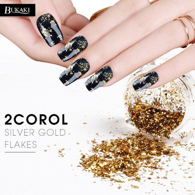 BUKAKI 0.2g Gold Silver Glitter Flakes Sequins Gel Nail Polish Magic ...