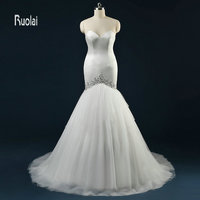 Sexy New Arrival Elegant Lace Sweetheart Beading Tulle Ruffles Mermaid Lace Up Back Long Wedding Dresses For Bridal