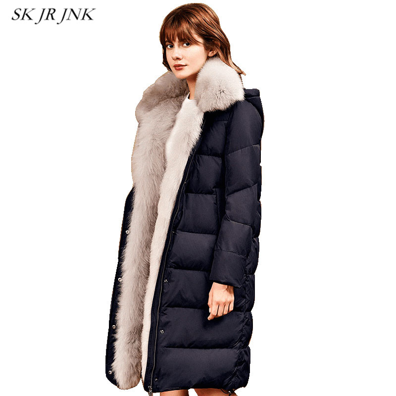 Women White Duck Down Coat Winter Fashion Warm Hooded Wadded Down Jacket Loose Waterproof Fur Collar Cotton Padded Parkas RS65