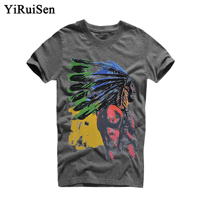 Hot Sell 9 Colors Summer Indian Headdress Print T Shirt Men 100% Cotton Short Sleeve Men t-shirt Fashion Brand Clothing Tops Tee