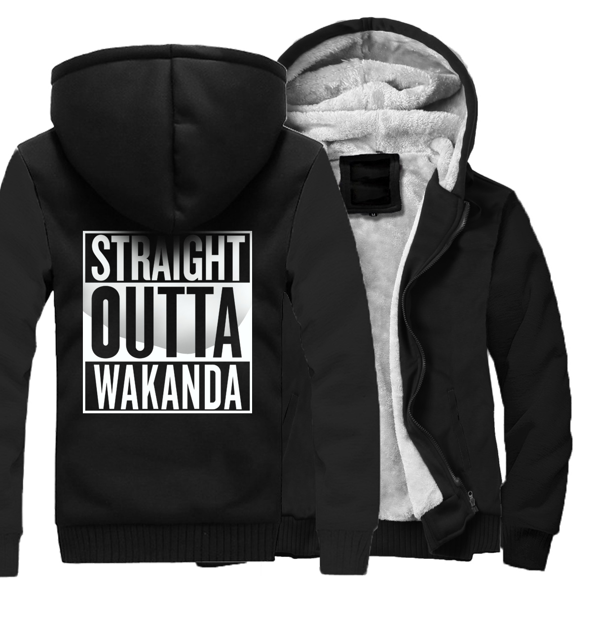 STRAIGHT OUTTA WAKANDA Hip Hop Hoodies Men Jackets 2018 Autumn Winter Fleece Streetwear Black Panther Men's Sweatshirt Jacket