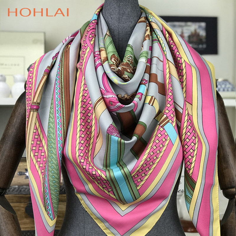 2018 New Design Luxury Brand Spring Summer Square Scarves For Women Neck Wraps Fashion Women Print Chain Twill Silk Scarf Shawl
