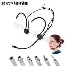 Faltbare Dual Ohr Kopf Headset Headworn Mikrofon für AKG Shure Audio Technica Sennheiser MiPro Wireless Luftfahrt Sicherheit Stecker