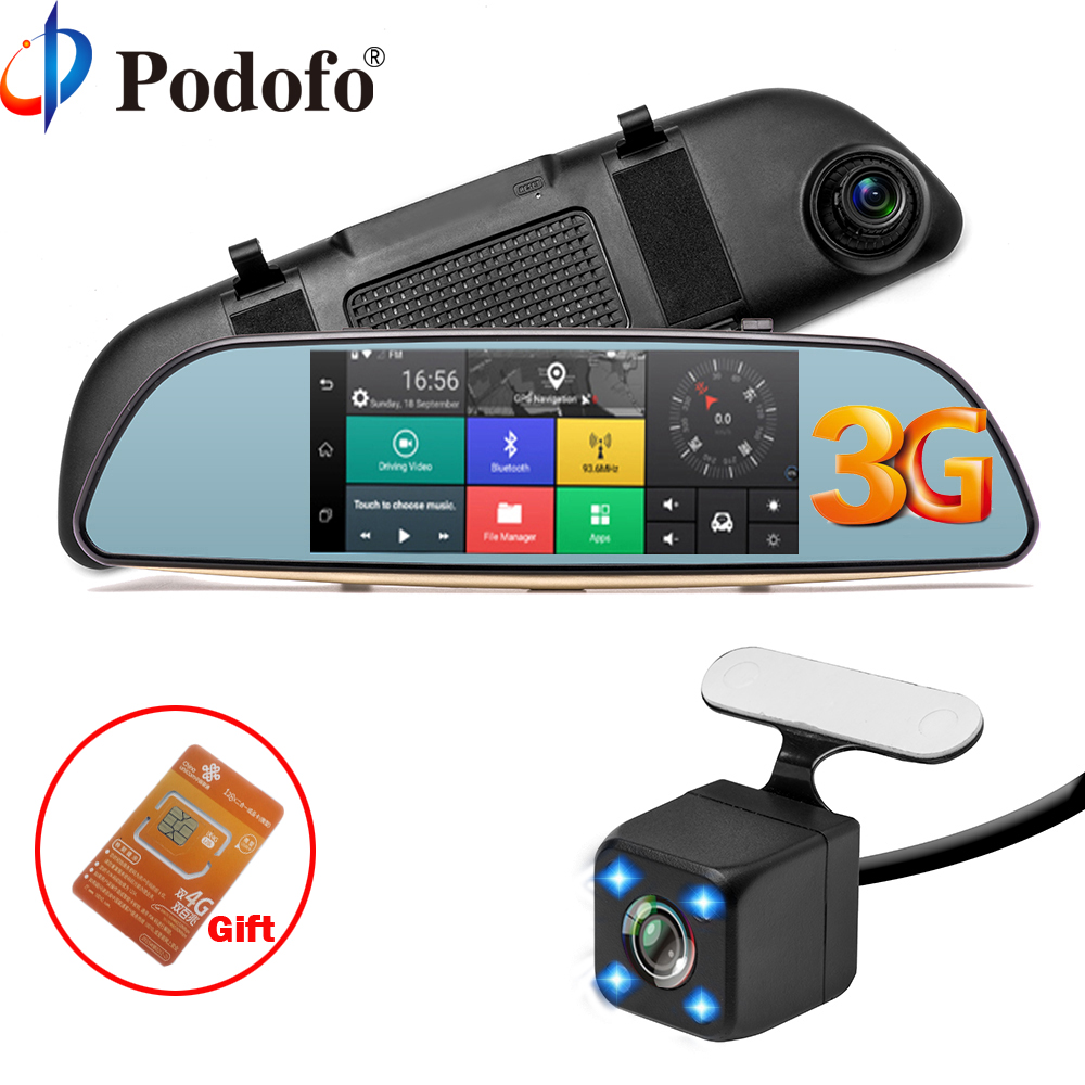 Podofo Car DVR 3G Touch Mirror Camera 7 Dash Cam Full HD 1080P Video Recorder Camera Android 5.0 GPS Rearview Mirror Registrar