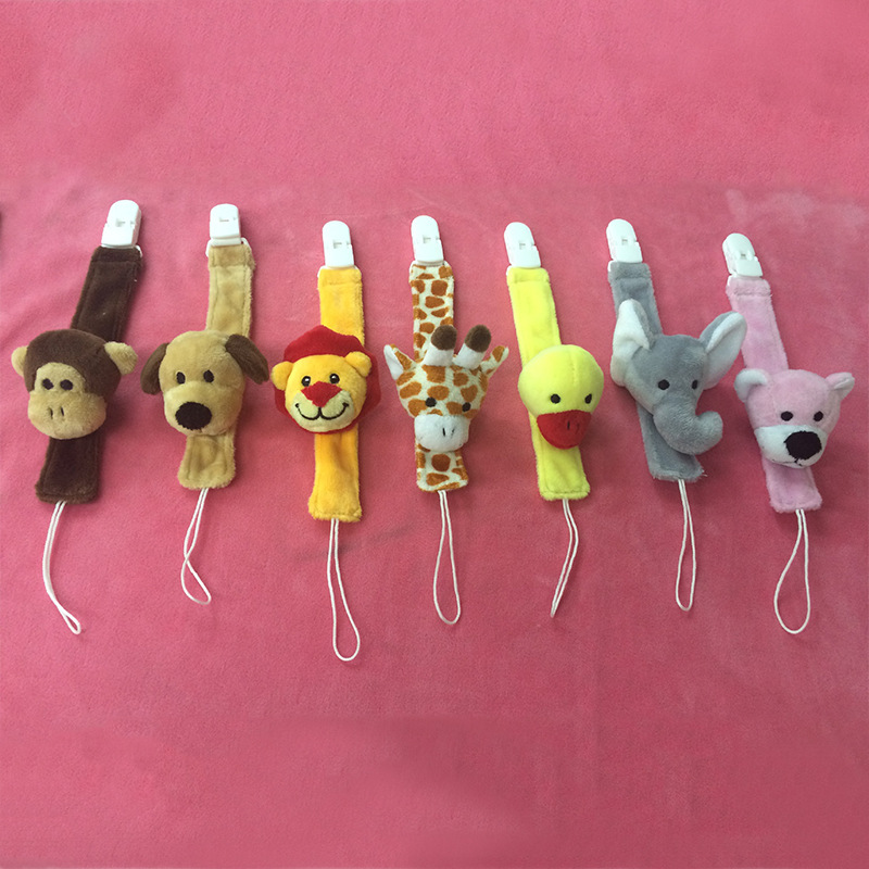 Cute Plush Baby Pacifier Holder Nipple Chain Baby Teether Chain Toy Dummy Holder Soother Lion/giraffe Chain Pacifier Chain B0620