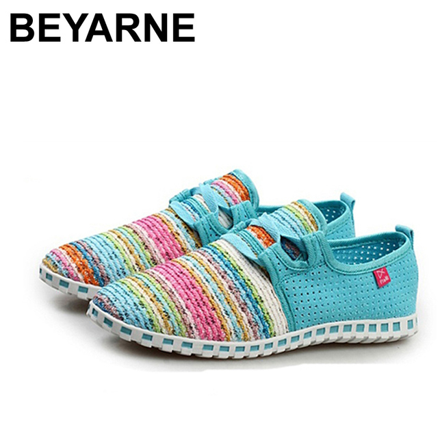 Summer Flat Shoes Woman Comortable Casual Lace-Up Flats Breathable Outdoor Women Shoes 3 Colors Size 35-40