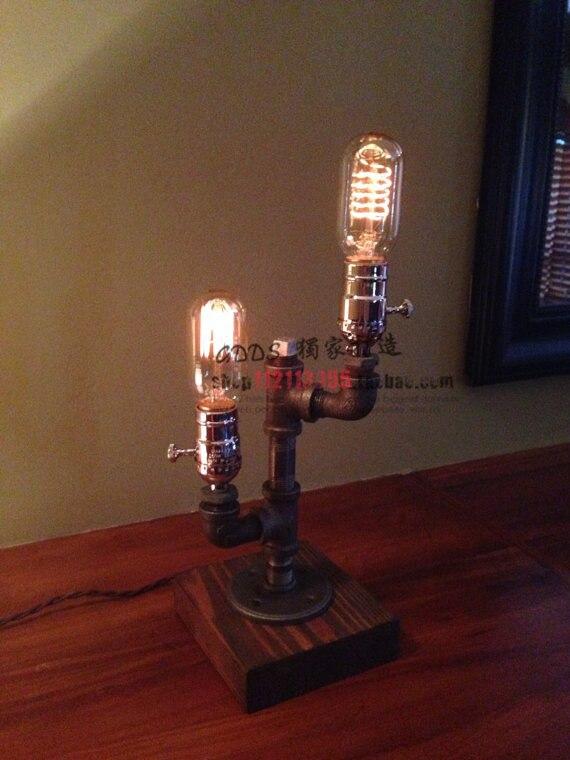 Здесь продается  Free shipping industrial retro double light pipe lamp vintage lamp on the table  Свет и освещение