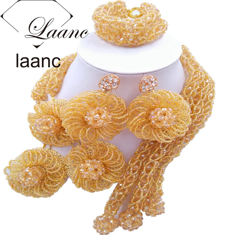 Laanc Fashion Nigerian Wedding Flower African Beads Gold Crystal Jewelry Set FBFE016Laanc Fashion Nigerian Wedding Flower African Beads Gold Crystal Jewelry Set FBFE016