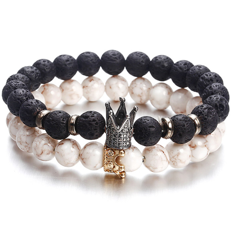 Hot Trendy Lava Stone Pave CZ Imperial Crown And Helmet Charm Bracelet For Men Or Women Bracelet Jewelry WHITE NOT STONE NS63