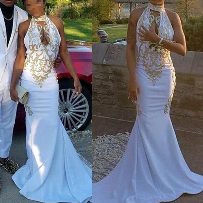 New White Halter Long Mermaid   Prom     Dresses   2019 Black Girls Keyhole Lace Applique Sweep Train Formal Party Evening Gowns Custom