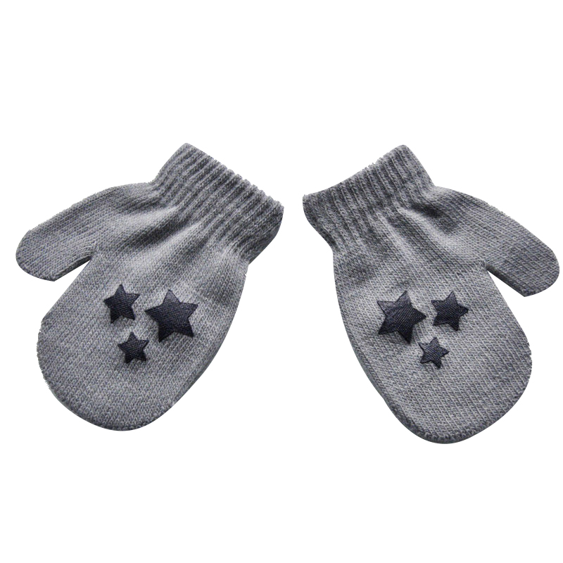 Kids Five-pointed star Pattern Gloves Boys Girls Winter Warm Knitted Mittens