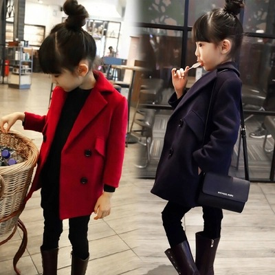 f3ba53095 Girl Wool Coat Long Spring and Autumn Double Buckle Slim Suit Collar ...