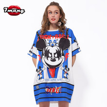 7Mang 2019 Women Streetwear 3D Cartoon Mickey Beading TShirt Short Sleeve Party Oversize Kwaii Gift Long Loose T Shirt 0309(China)