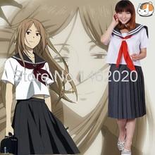 Anime Natsume Yuujinchou Nyanko Sensei Natsume Reiko Cosplay Costume Women Sailor Suits Short Sleeve Tops + Skirt Girls Clothing