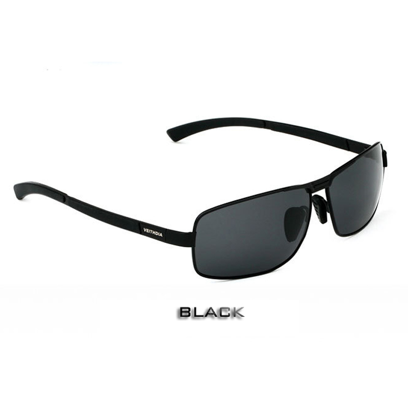 VEITHDIA, с оригинальным чехлом, поляризационные солнцезащитные очки для мужчин, фирменный дизайн, винтажные мужские солнцезащитные очки, gafas oculos de sol masculino 2490 - Цвет линз: black