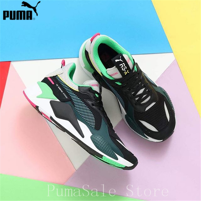 bbea553a1c US $75.6 5% OFF|PUMA RS X Reinvention Men and Women Badminton Shoes RS  System Cushioning Sneaker Retro Couple Shoes Dad Shoes EU36 45-in Badminton  ...
