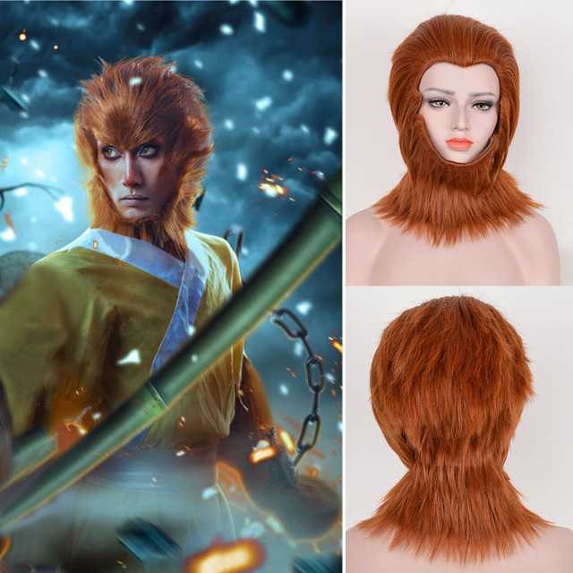 Monkey King Cosplay Wig Adult Son Goku Monkey Hair Hero Is Back Monkey King Sun Wukong Headpiece Beard Animal Costume Accessory