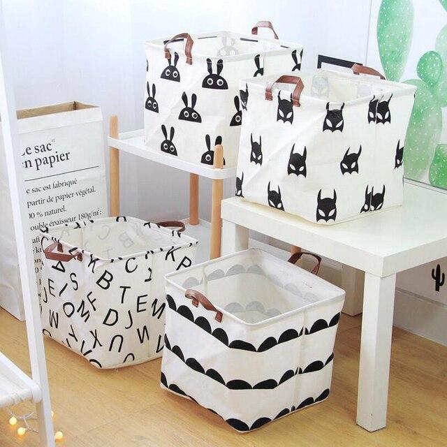 Upscale  Home decoration Foldable Bathroom Dirty Clothes Laundry Storage Buckets box Bag Kids Toy Cotton Linen Storage Basket