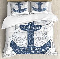 Anchor Duvet Cover Set, Doodle Style Maritime Motif with Swirls and Curls Motivational Quote Design, 4 Piece Bedding Set