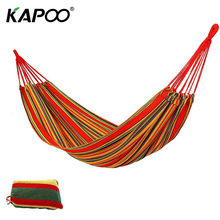 Portable Single Outdoor Hammock Leisure Red Canvas Hammock Outdoor Furniture Picnic Mat Camping Hammock Swing Chair Rest Bed(China)