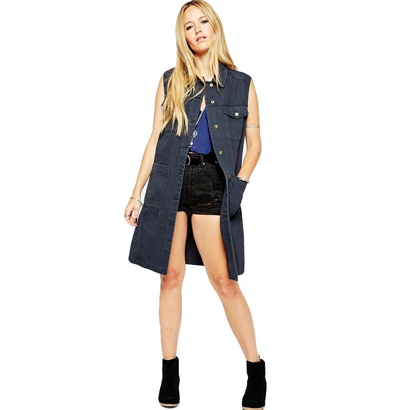 2015 New Fashion Women Denim Vest Punk Style Classic Four Pocket Vintage Woman Wild Sleeveless Long Vest Women Vest OutwearJT241 (3)