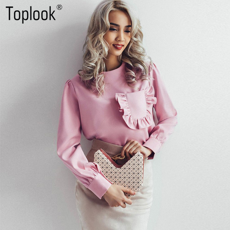 Toplook Robe Ruffle Pocket Blouse Spring Long Sleeve Shirt Women Round Neck Casual Fitness Womens Summer Tops And Blouses 2017