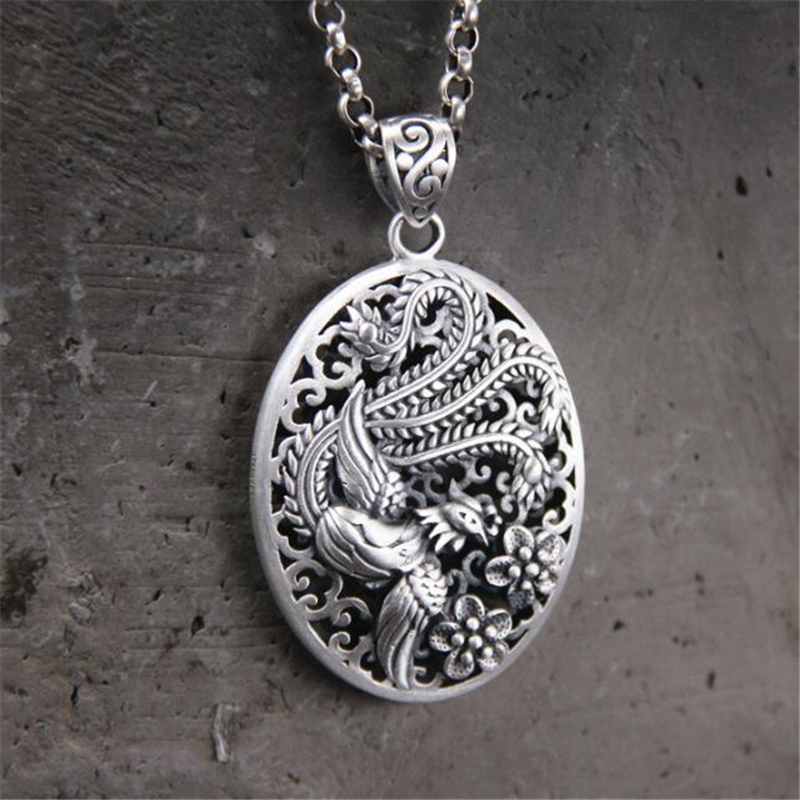 999 Sterling Silver Phoenix Pendant 32*46MM Oval Shape 100% Pure S999 Solid Thai Silver Pendants for Women Men Jewelry Making