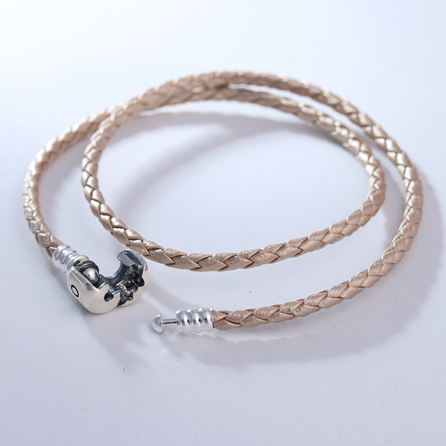Pandulaso Champagne Cor Pulseira de Couro Original 925 Sterling Silver Mulher Pulseiras de Prata Moda DIY Beads Jewelry