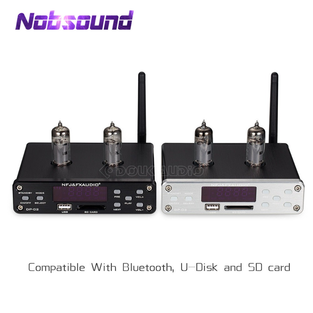 Nobsound Mini HiFi 6K4 Valve Tube Preamp Audio Pre-Amplifier With U-Disk / SD Card / Bluetooth / 3.5mm Jack / RCA Inputs fx audio m 200e mini hifi audio high fidelity amplifier support u disk sd card lossless bluetooth 4 0 120w 2 220v