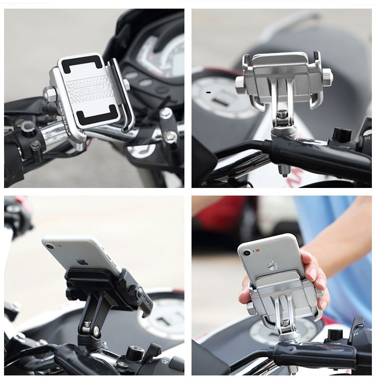 Image 4 - Universal Aluminum Alloy Motorcycle Phone Holder For iPhoneX 8 7 6s Support Telephone Moto Holder For GPS Bike Handlebar HolderPhone Holders & Stands   -