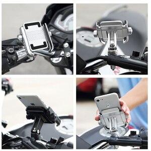 Image 4 - Universal Aluminum Alloy Motorcycle Phone Holder For iPhoneX 8 7 6s Support Telephone Moto Holder For GPS Bike Handlebar Holder