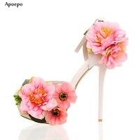 Apoepo розовый цветок Аксессуары высокий каблук Обувь пикантные Лодочки на платформе для женщины вырезы Свадебная обувь на каблуках Ремешок н...