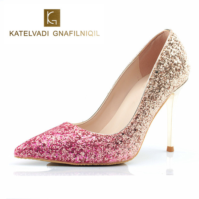 Brand Wedding Shoes Woman 10cm High Heels Comfortable Female Pointed Gold Glitter Women Bride