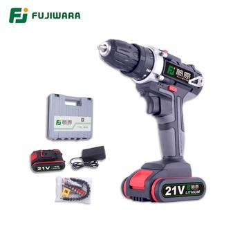 FUJIWARA 21v /16.8v /12V Electric Screwdriver Cordless Drill Power Driver  Impact Drill Lithium Battery 2 speed