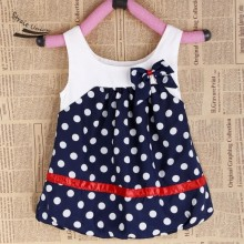 Navy Blue And White Dots Cute Baby Dress Bow knot Sleeveless Baby Girl Dress Clothing Fancy Girl Dresses
