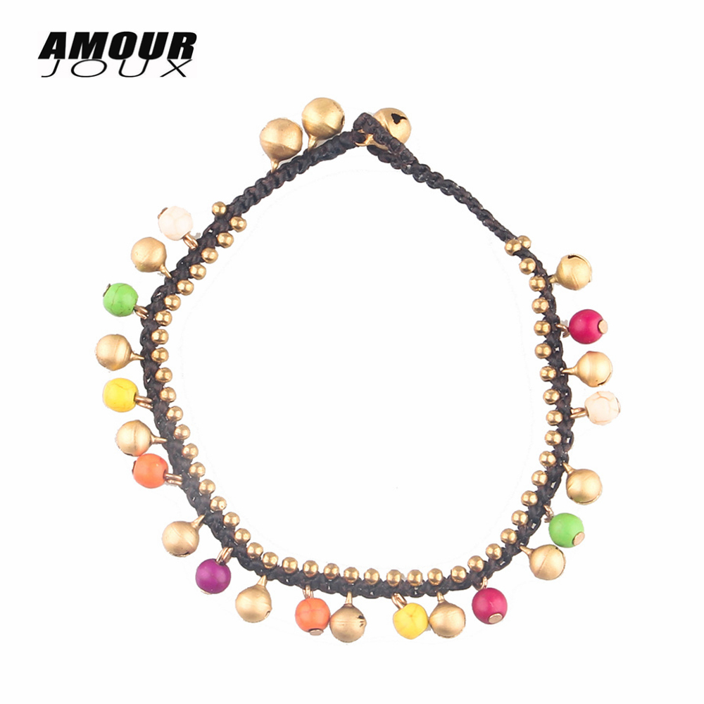 AMOURJOUX Summer Handmade Woven Colored Stone Beads Bell ...