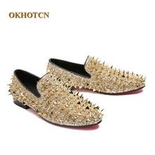 Fashion Mens Casual Leather Shoes Slip-on Customized Luxury Rivets Design  Black Gold Studs Plus 1b7f6ea147ba