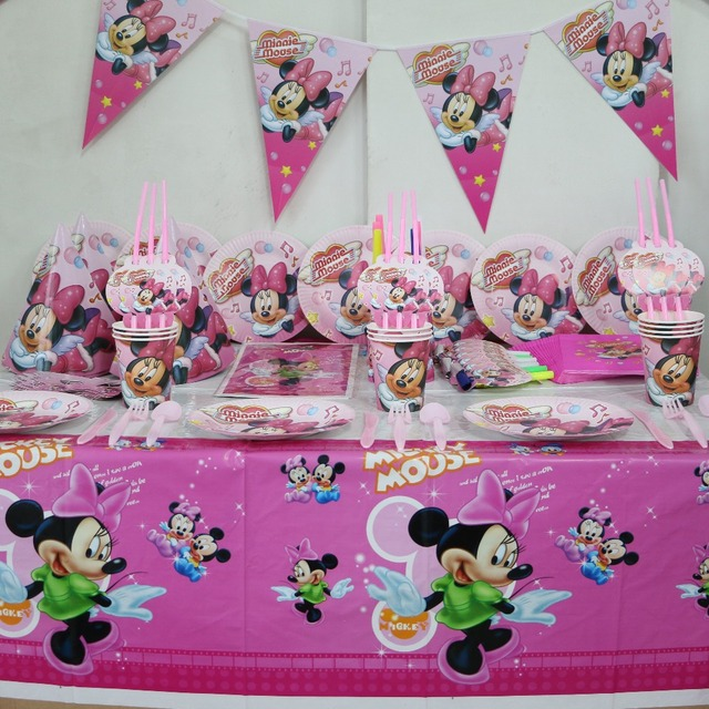 92pcGirl Kids Birthday Decoration Set Minnie Mouse Theme Luxury Party Baby Happy Girls