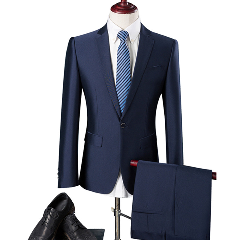 2019 British style men's business fashion casual single button suits /male solid color suit blazers jacket + pants sets
