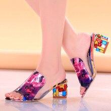 Летние женские туфли с открытым носком, стразы, Кристаллы Женские босоножки Туфли-лодочки на квадратном каблуке женские туфли женские шлепанцы